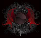 Fotografia gotico rotondo banner con il drago ali rosse