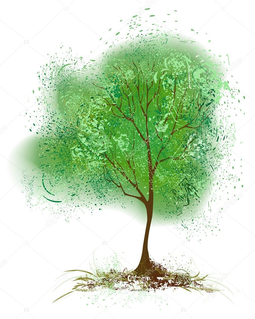 Ağaç Yapraklar Yeşil Boya Ile Boyanmış Stok Vektör Blackmoon979