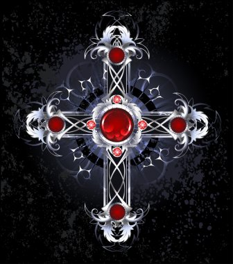 Silver cross with rubies
