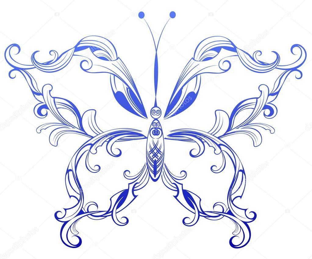 Blue patterned butterfl