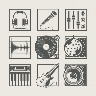 Set of music instruments icons for disco party