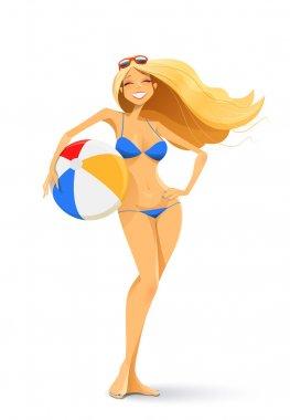 girl in bikini with ball