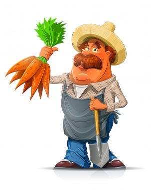 Gardener with carrot and shovel