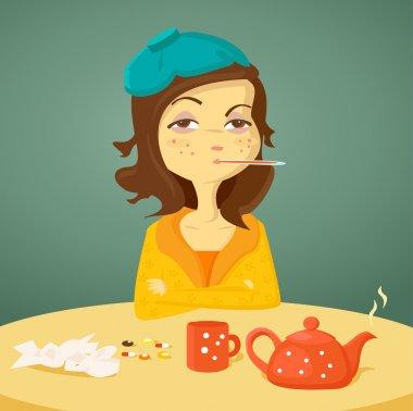 Cartoon girl with illness, illustration clip art vector