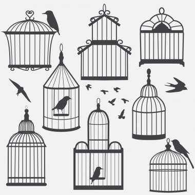 Bird cages silhouette
