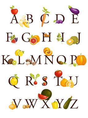 Fruits and vegetables alphabet , illustration clip art vector