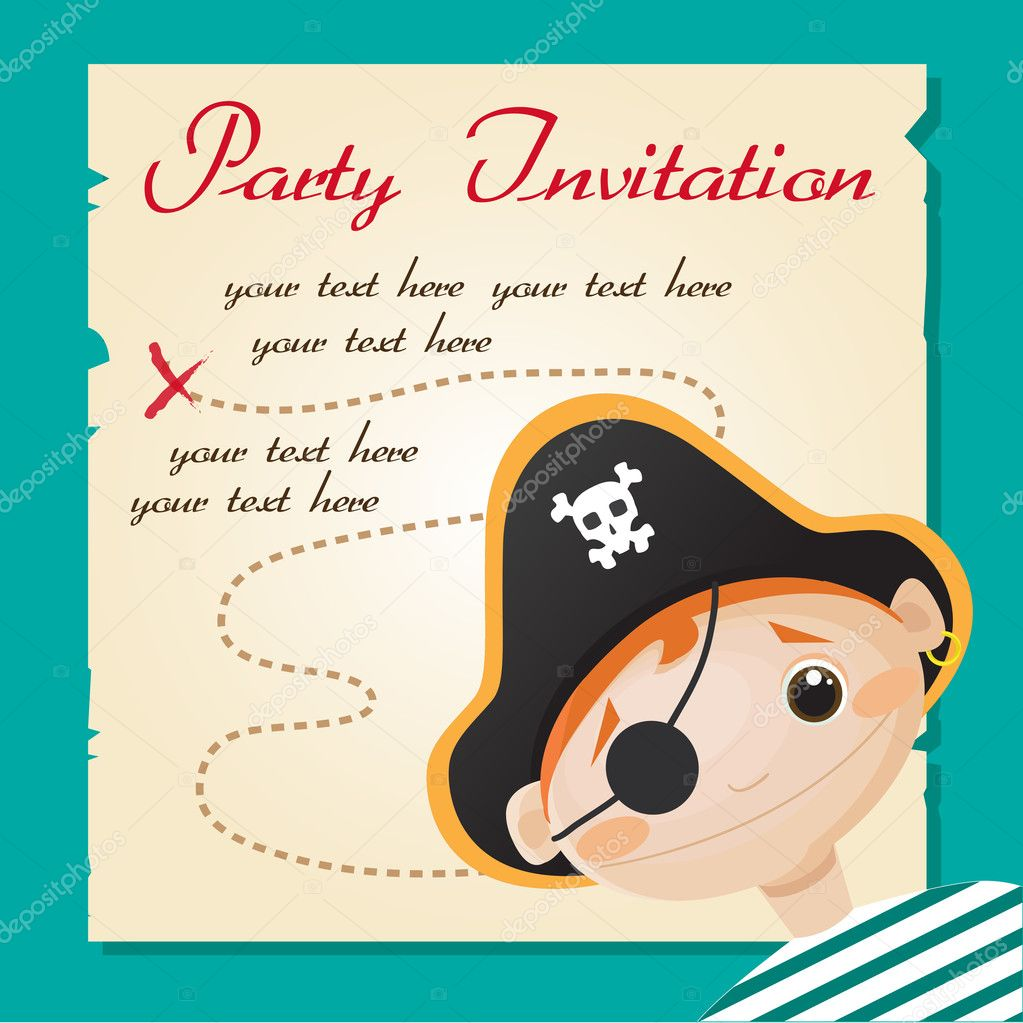 Pirate party invitation — Stock Vector © kariiika #18222639