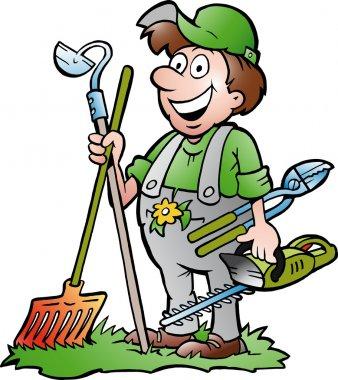 Hand-drawn Vector illustration of an happy Gardener standing with his garden tool stock vector