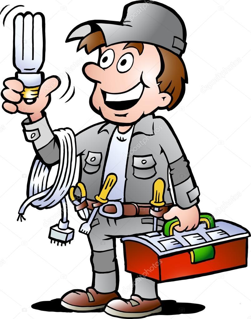 Hand-drawn Vector illustration of an happy Electrician Handyman, holding a energysaving light bulb