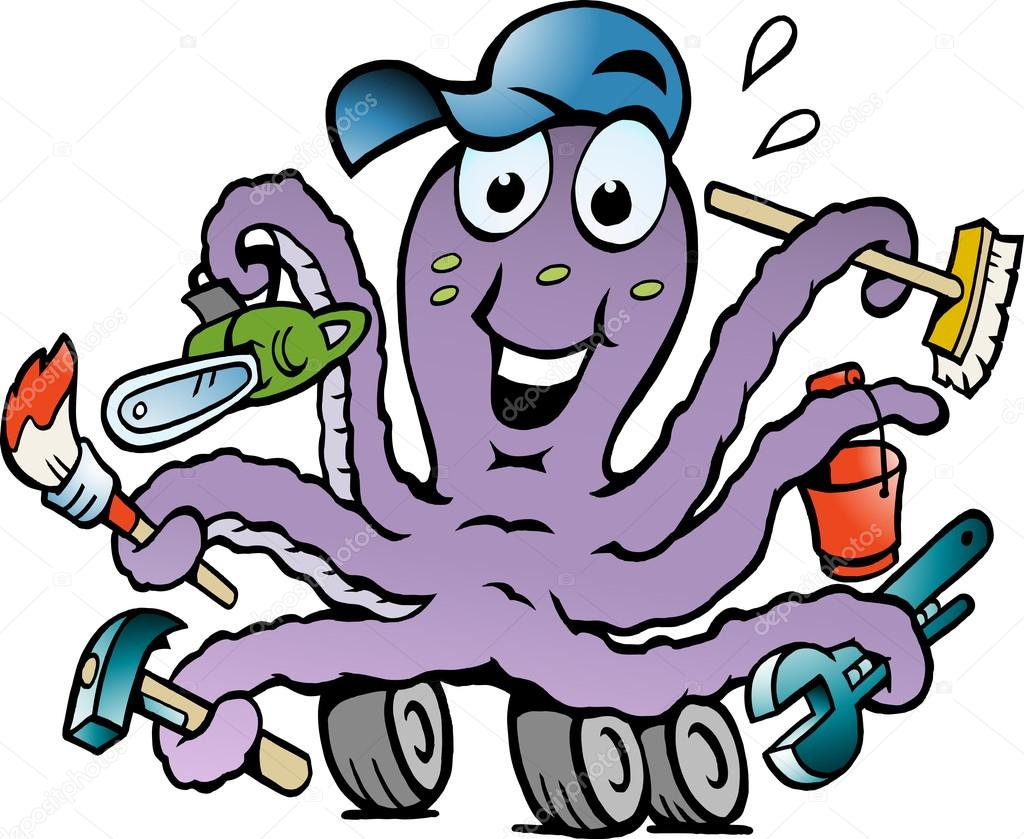 Hand-drawn Vector illustration of an Happy Busy Octopus Handyman