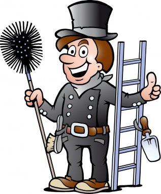 Hand-drawn Vector illustration of an Happy Chimney Sweep stock vector