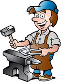 Photo Hand-drawn Vector illustration of an Happy Blacksmith Worker
