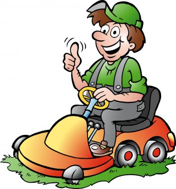 Hand-drawn Vector illustration of an happy Gardener riding his lawnmower