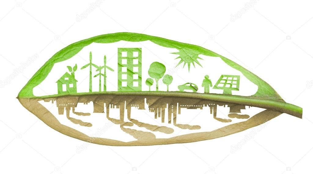 Green ecology city against pollution concept, isolated over whit