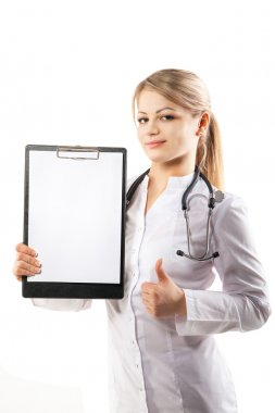 Doctor showing her clipboard