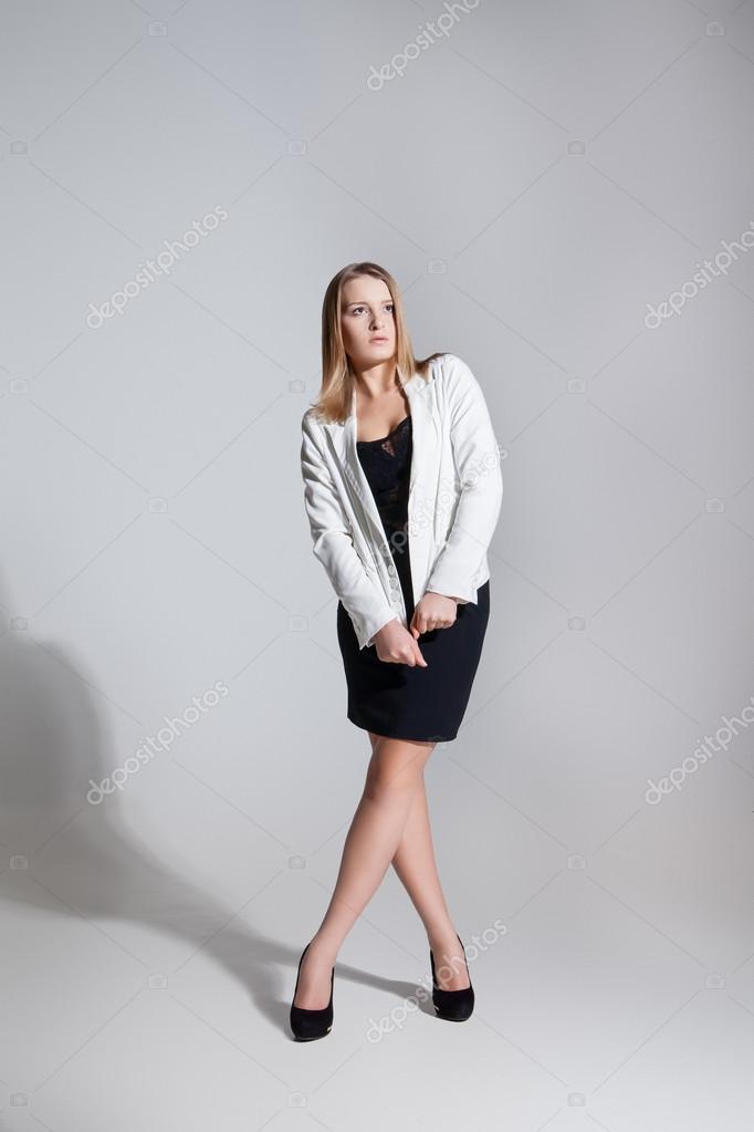 chaqueta en vestido sexy mujer y rubia negro YTqxO1w