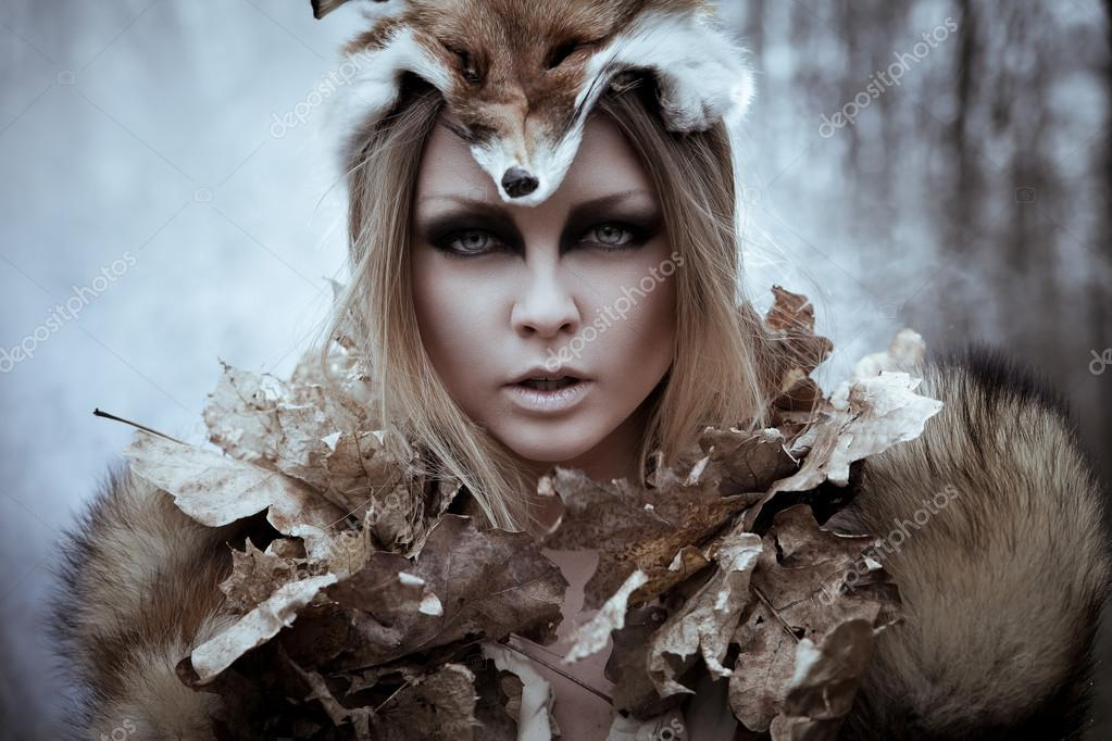 Wild beauty tribal woman in forest