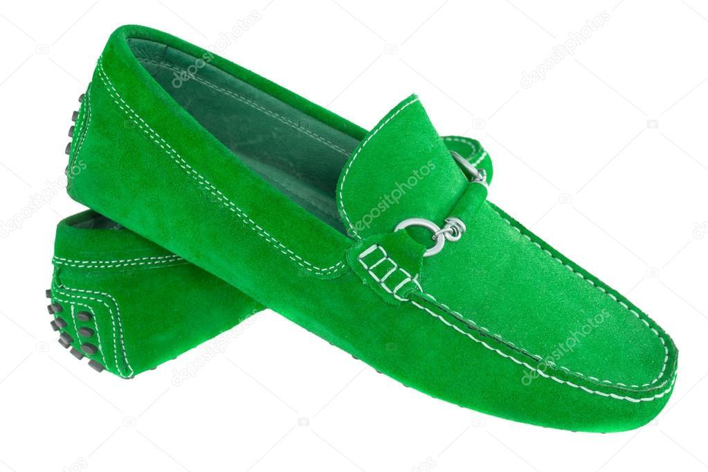 paar grüne Männer Schuhe isoliert weiß — Stockfoto © 18042011  36823831 a58fa1f549