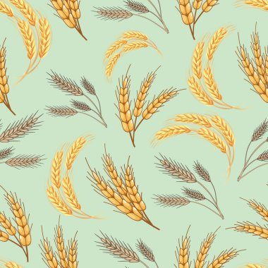 Abstract textured wheat field. Seamless pattern. Vector.