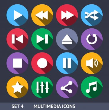 Multimedia Vector Icons With Long Shadow Set 4