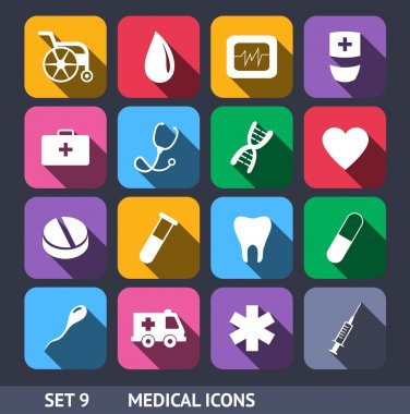 Medical Vector Icons With Long Shadow Set 9 stock vector