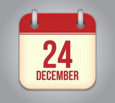 Vector calendar app icon. 24 December