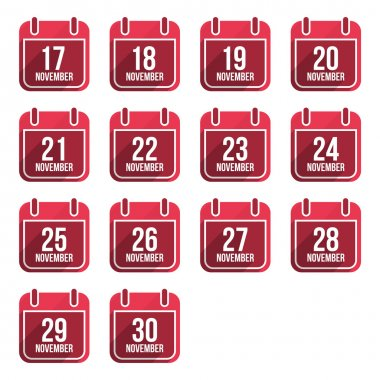 November vector flat calendar icons with long shadow. Calendar Days Of Year Set 4