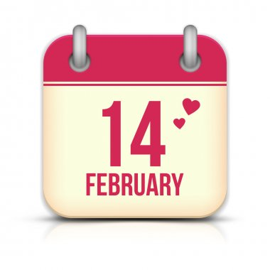 Valentines day calendar icon with reflection. 14 february stock vector