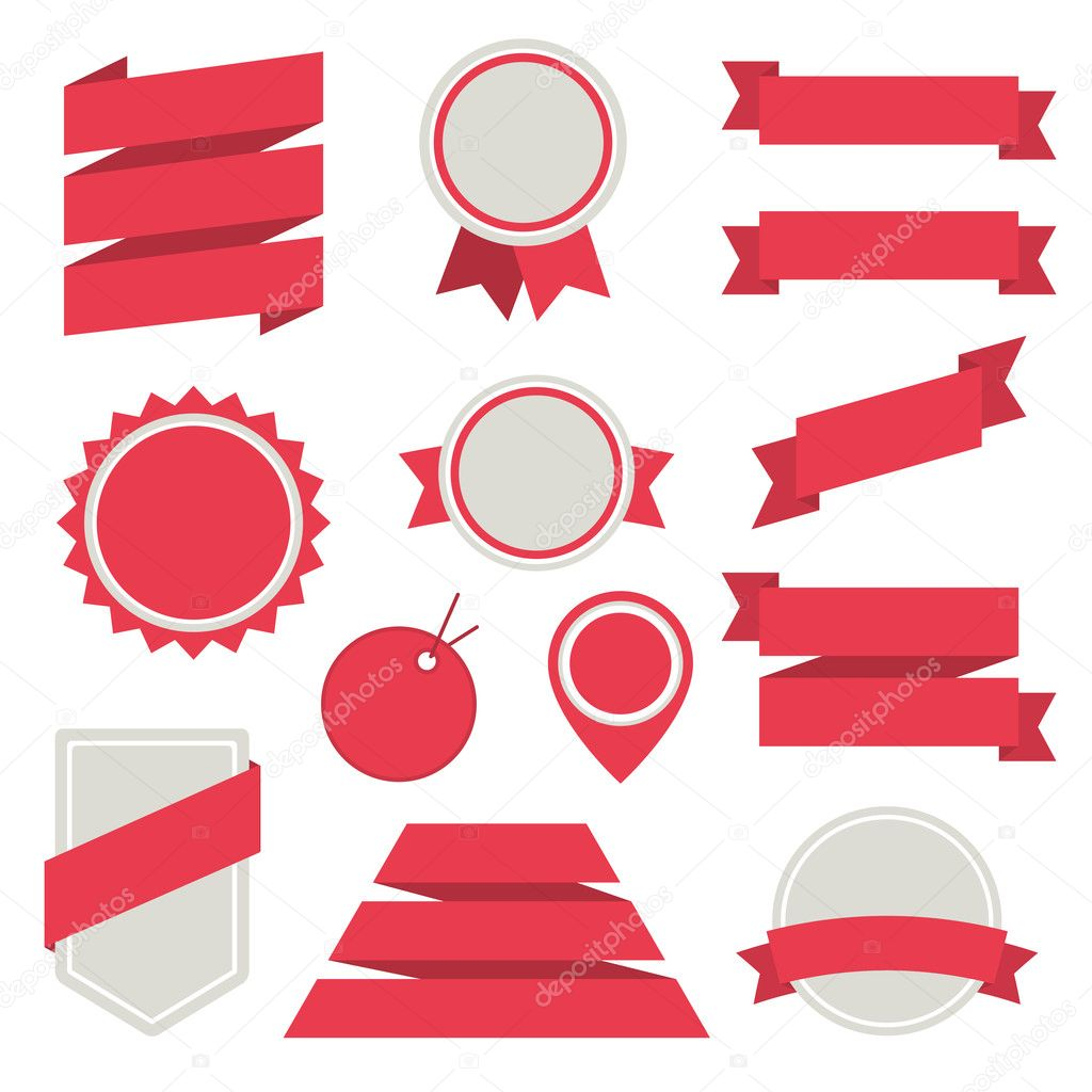 Vector Stickers and Badges Set 3. Flat Style.