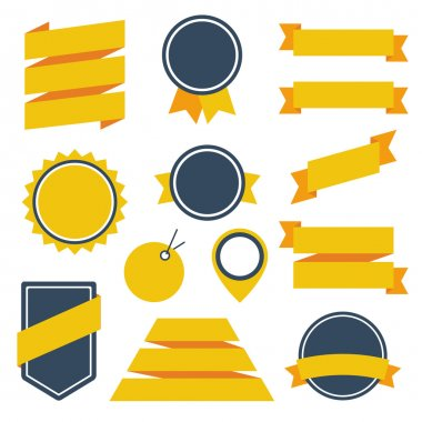 Vector Stickers and Badges Set 6. Flat Style. stock vector