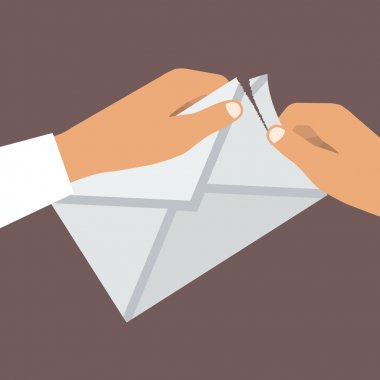 Human Hands Opens Envelope. Flat style. Vector illustration