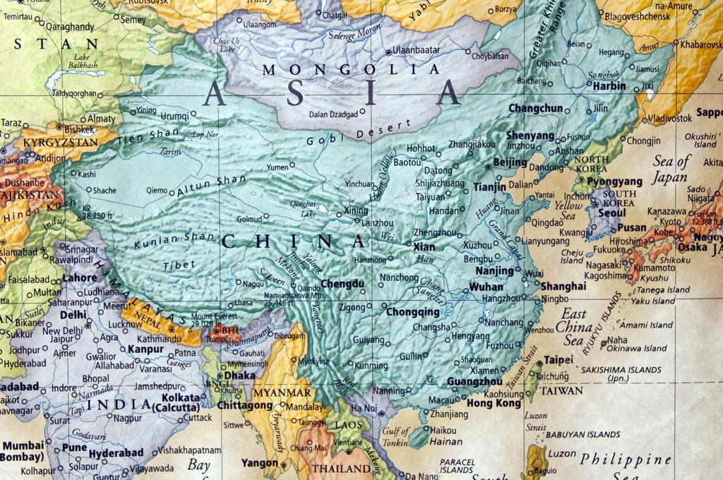 Map of china and parts of asia — Stock Photo © zenmaster8 #12228985