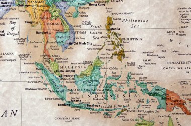 World map of Indonesia and surrounding countries