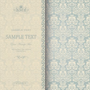 Beautiful damask invitation card. eps10