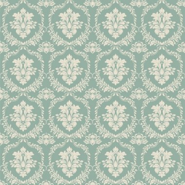 Seamless background of green color in the style of baroque