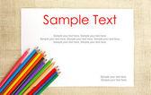 Carta su tela da imballaggio con matite  testo