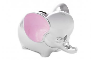 Silver and pink elephant piggy bank