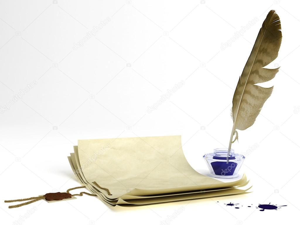 Old paper with a wax seal and quill pen