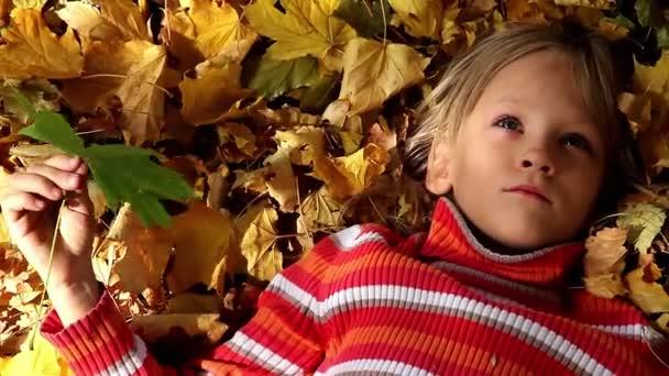 lány feküdt a sárga levelek