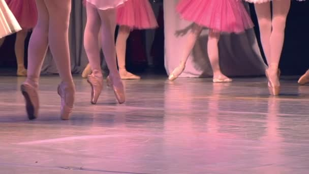 Feet in pointe dancing ballerinas on the stage