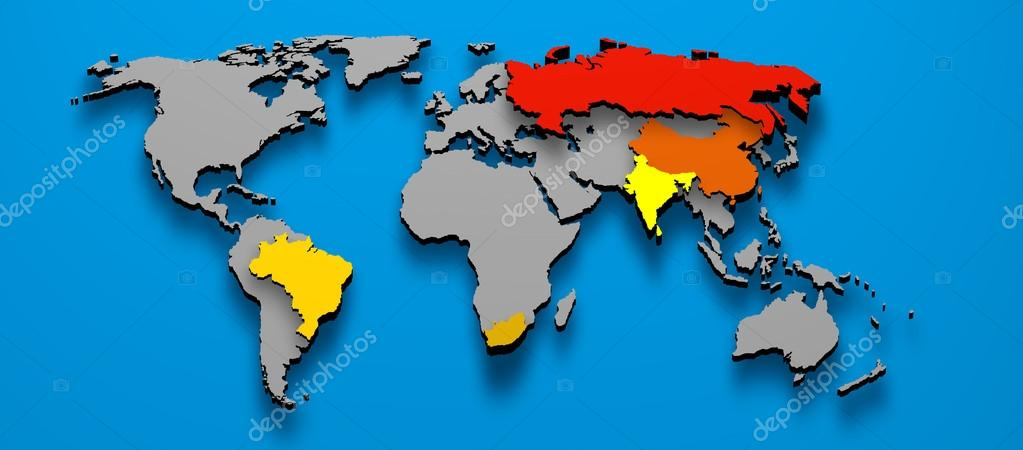 Political map brics brazil china russia india south africa stock 3d illustration political map of brics brazil china russia india south africa photo by marphotography gumiabroncs Images