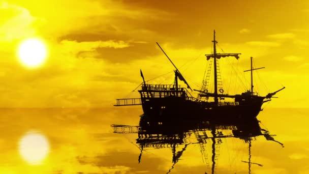 škuner silueta s odrazem ve vodě při západu slunce