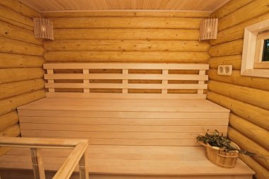 Log sauna inside