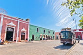 Downtown street view with typical colonial buildings in Valladolid, Mexico