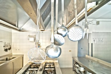 Cooking utensils in a professional kitchen