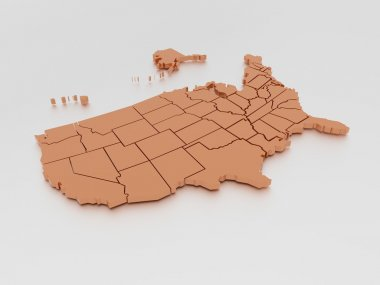 3D map of United States In Orange