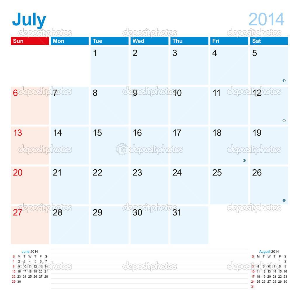 calendario planificador julio de 2014 — Archivo Imágenes Vectoriales ...