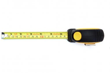 measuring tape on white from top