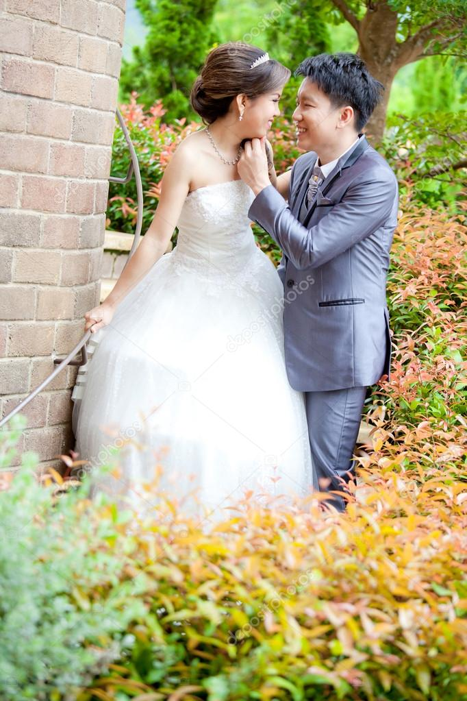 Happy Romantic Newlyweds Couples