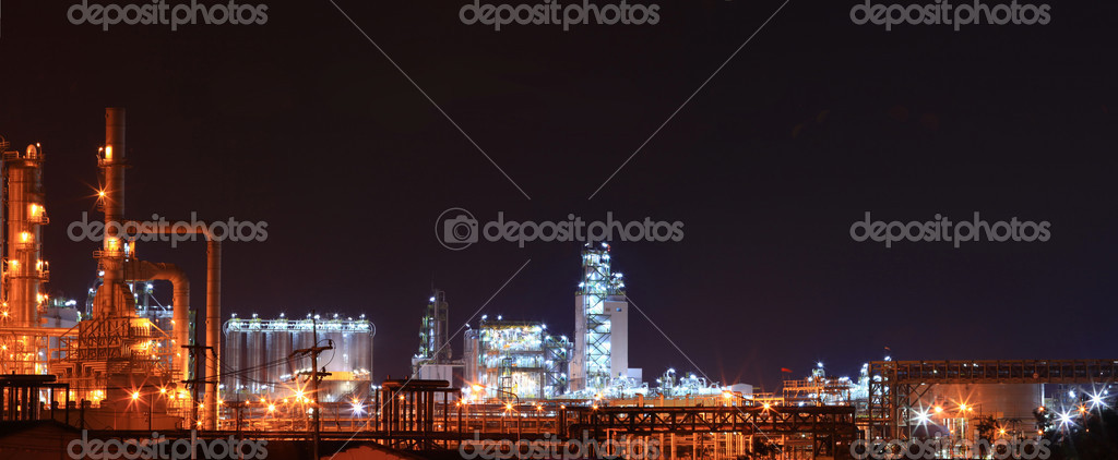 Panoramic of oil petrochemical refinery factory stock vector